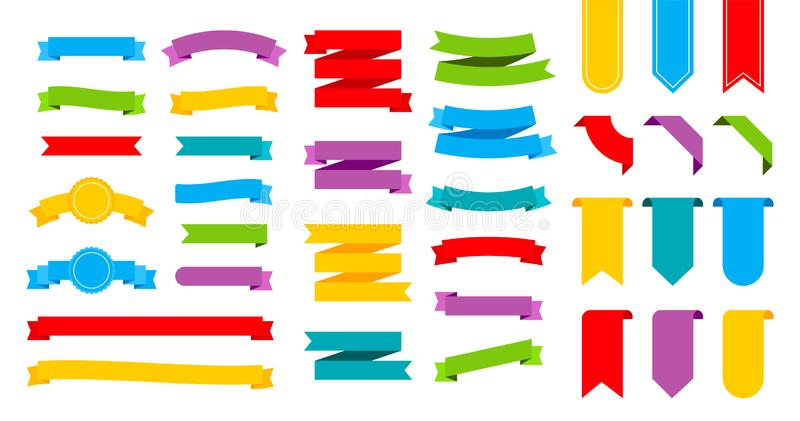 Colorful ribbons banners. Set of ribbons. Vector stock illustration royalty free stock image