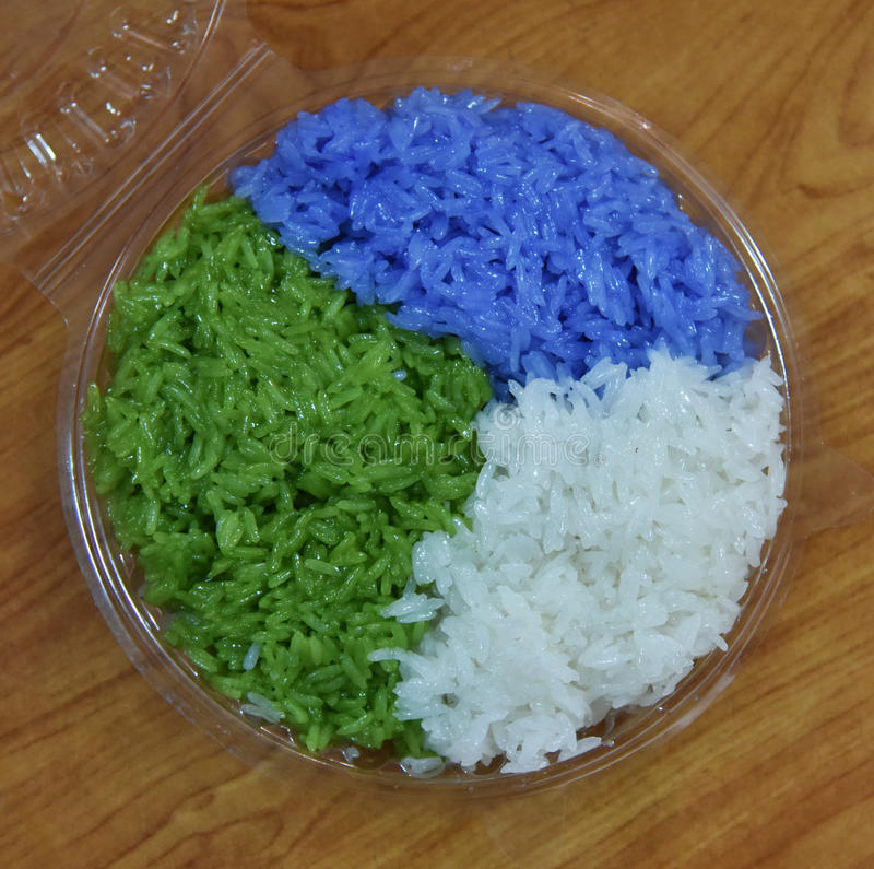 Colorful rice. Colorful sticky rice - Colorful sticky rice, Thai dessert stock image
