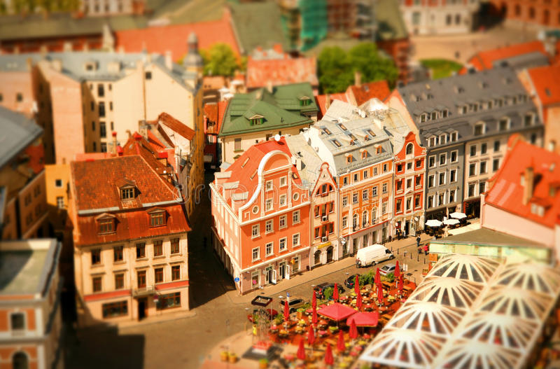 Colorful Riga. Looks like a toy town from high above stock image