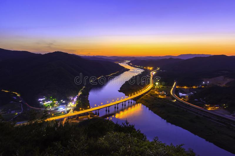 Colorful of river and traffic royalty free stock photos