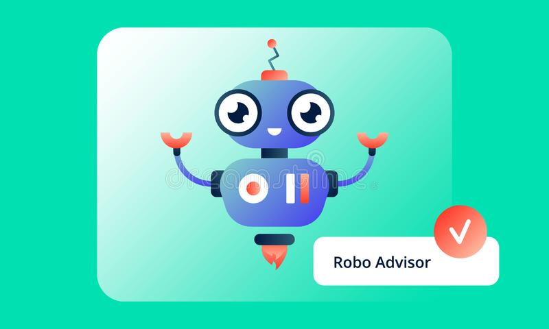 Colorful Robo Advisor, who is always happy to help. Flat vector illustration for web and printing on light green gradient background vector illustration