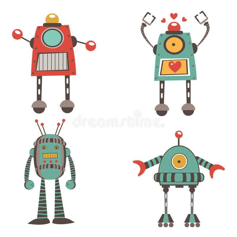 Illustration colorée d'une collection de personnages de robot