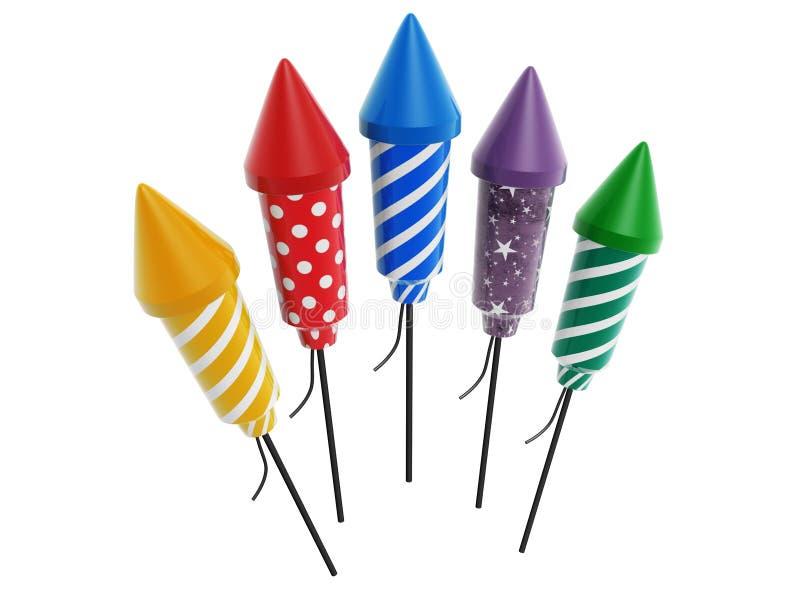 Download Colorful rocket fireworks stock illustration. Illustration of celebrate - 32334183