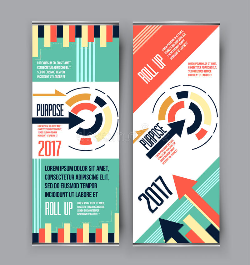 Colorful roll up business vertical template vector, cover presentation geometric background, modern x-banner vector illustration