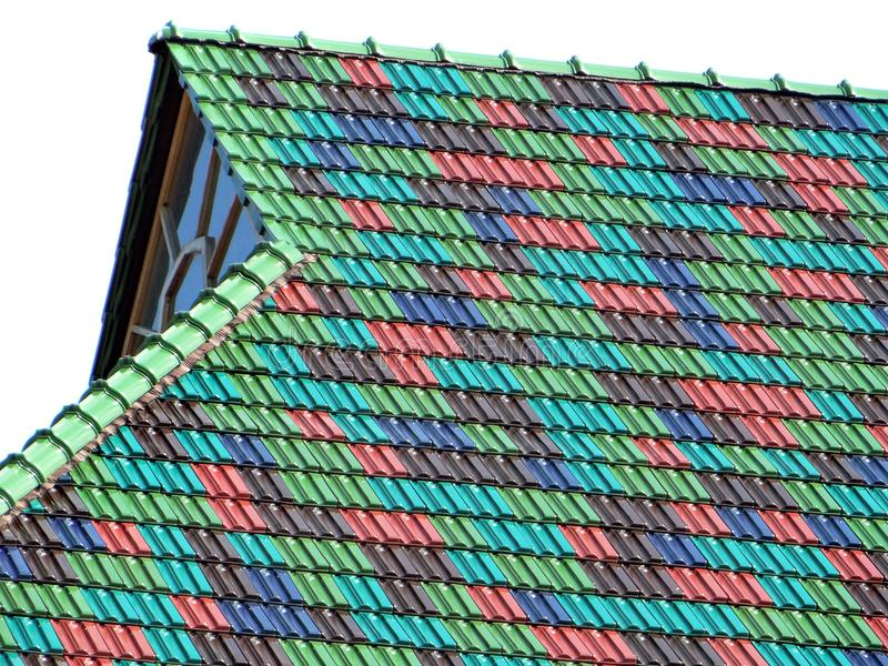 Colorful roof tiles. Colors of rainbow stock image