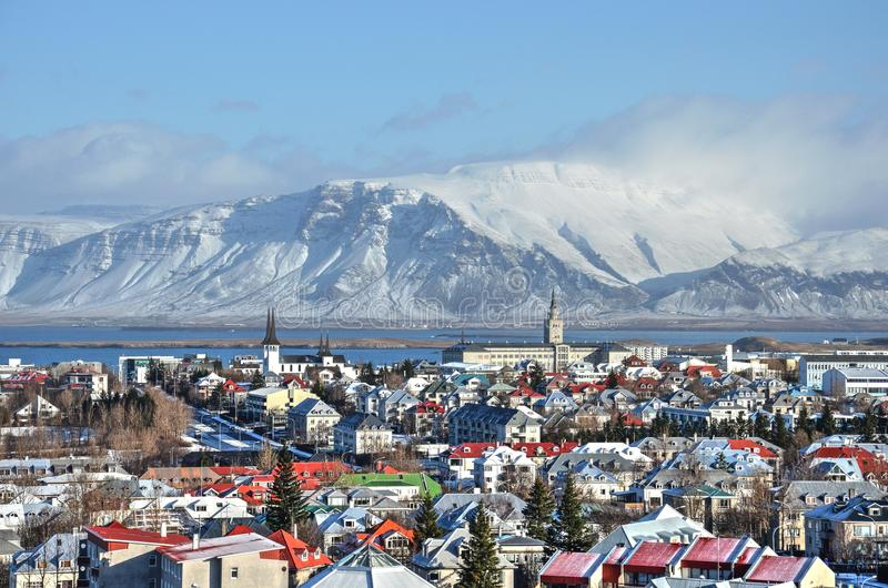 The colorful roofs of Reykjavik stock images