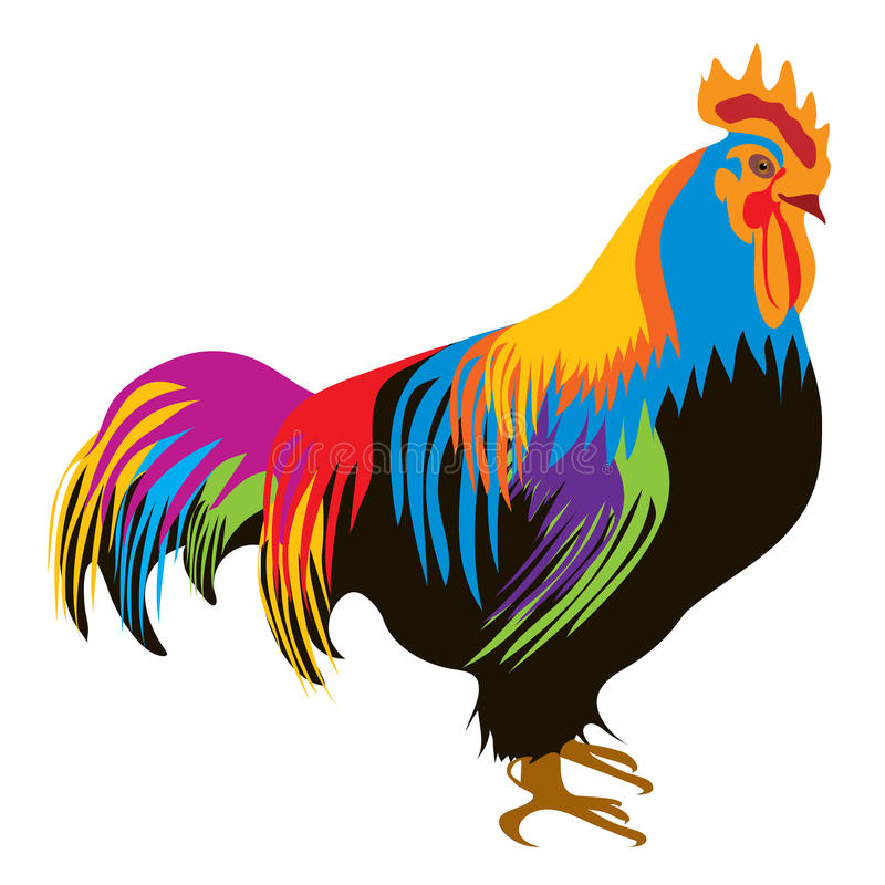 Colorful rooster royalty free illustration