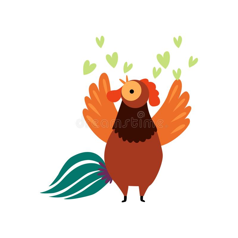 Colorful Rooster Crowing, Farm Cock Cartoon Character Singing Love Song Vector Illustration stock illustration