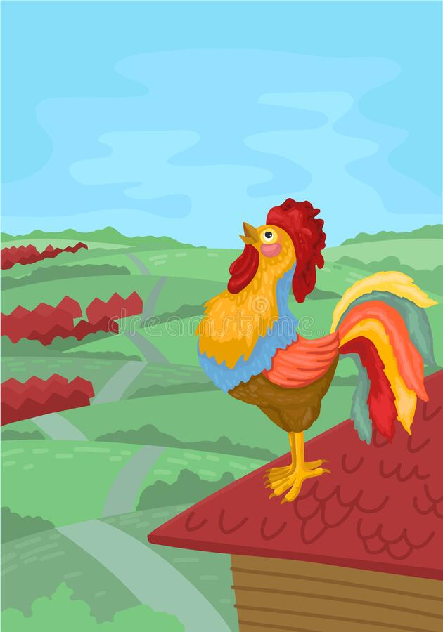 Free Colorful Rooster Crowing In The Morning. Vector Illustration Royalty Free Stock Photo - 173438135