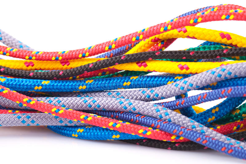 Colorful ropes. Isolated on white background stock images