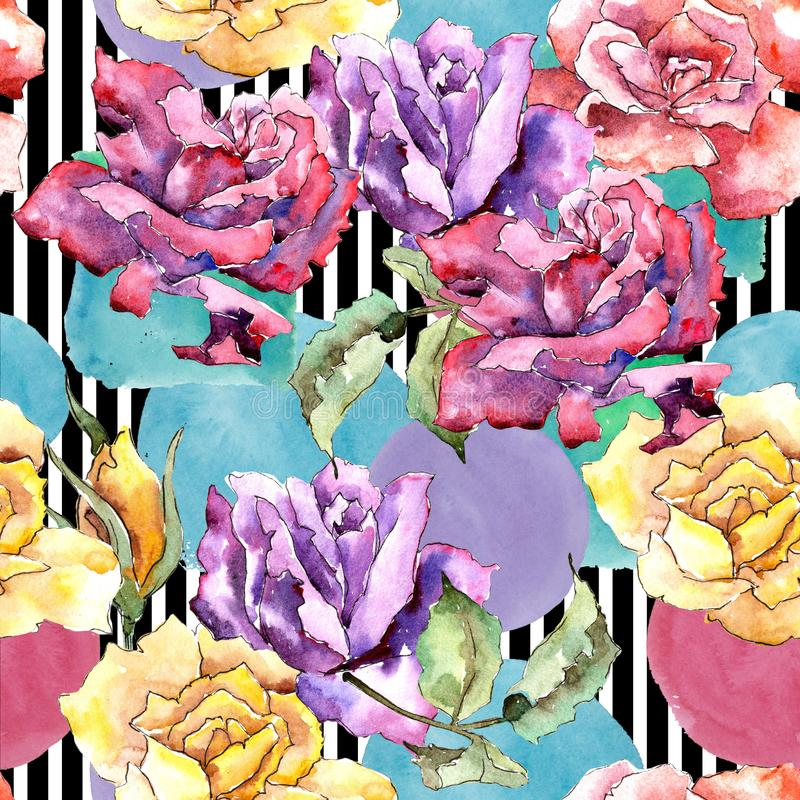 Colorful rose. Floral botanical flower.Seamless background pattern. Fabric wallpaper print texture. stock illustration