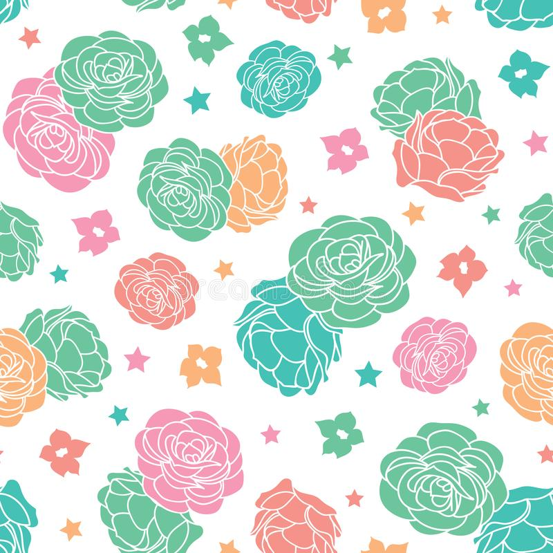 Colorful rose garden ditsy floral with stars seamless vector repeat pattern stock illustration