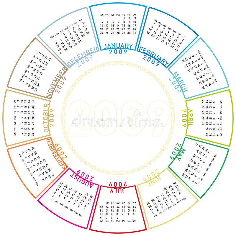 Colorful rotating calendar for 2009. royalty free illustration