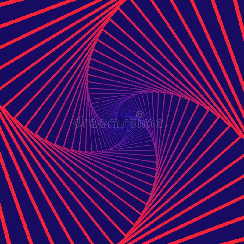 Colorful rotating geometric  violet and blue squares. Geometric abstract optical illusion on dark violet background. vector eps10 royalty free illustration