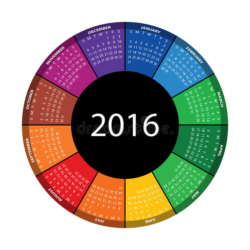 Colorful round calendar for 2016 year. royalty free stock photos