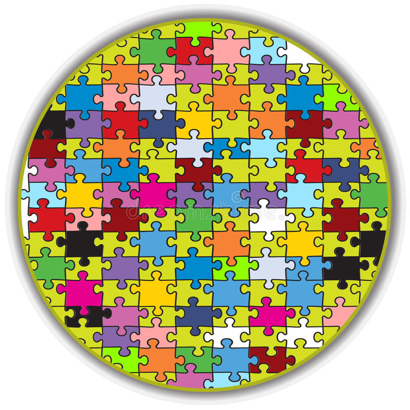 Colorful round puzzle. Illustration of a colorful round puzzle, made to look like a peace of a bigger mosaic vector illustration