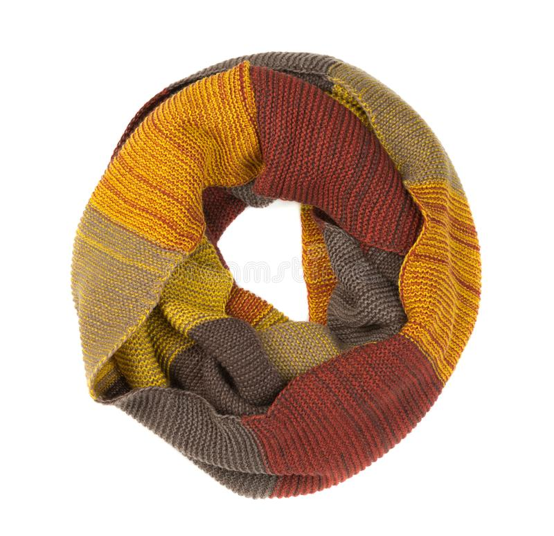 Colorful round scarf. Isolate on white. Background royalty free stock photos
