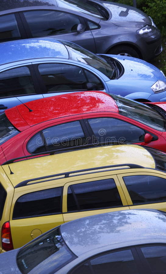 Colorful row of cars royalty free stock photo