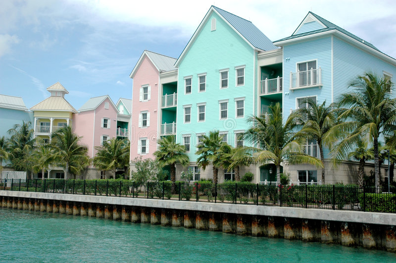 Colorful row of houses. Colorful row of tropical houses in Nassau, bahamas royalty free stock photo
