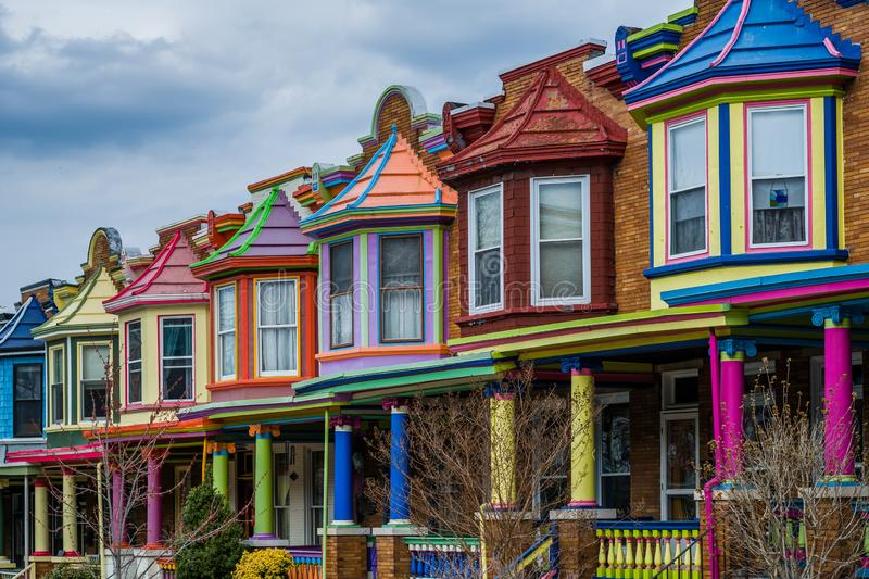 Colorful row houses along Guilford Avenue in Charles Village, Baltimore, Maryland royalty free stock images