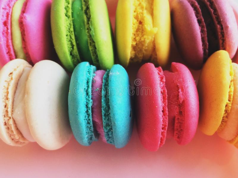Colorful rows of macaron royalty free stock photo