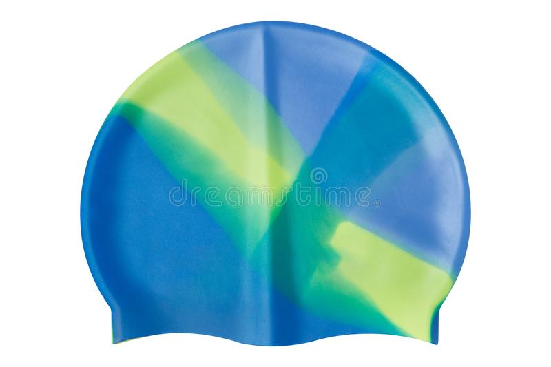 Colorful rubber swimming cap, on a white background, isolate. Colorful rubber swimming cap, on a white background royalty free stock image