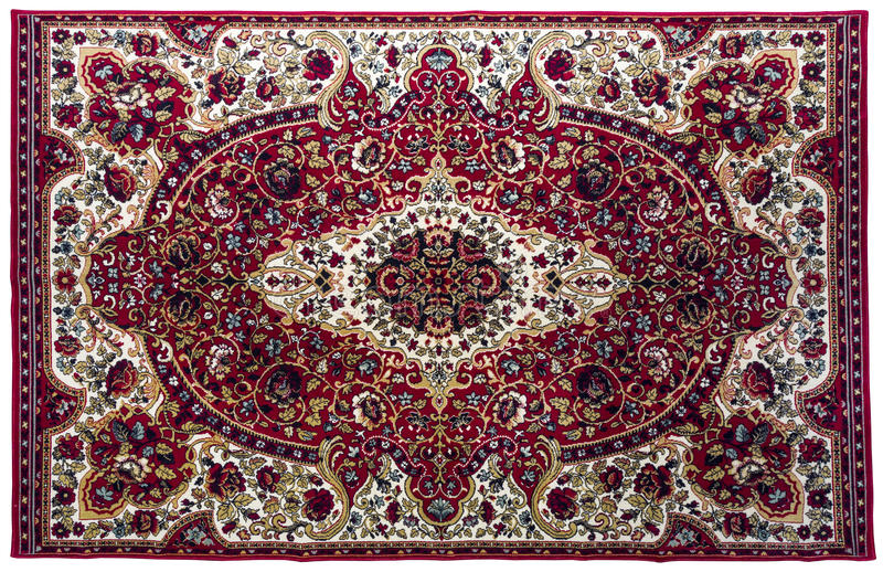 Colorful rug with oriental ornaments isolated on white backgroun. Old colorful rug with oriental ornaments isolated on white backgroun royalty free stock image