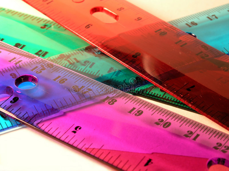 Colorful rulers - School royalty free stock photo