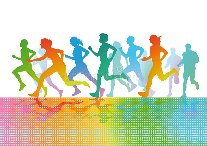Colorful running figures royalty free illustration