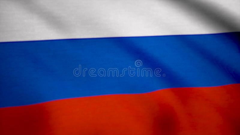 Colorful Russia flag waving in the wind. Flag of Russia background royalty free stock images