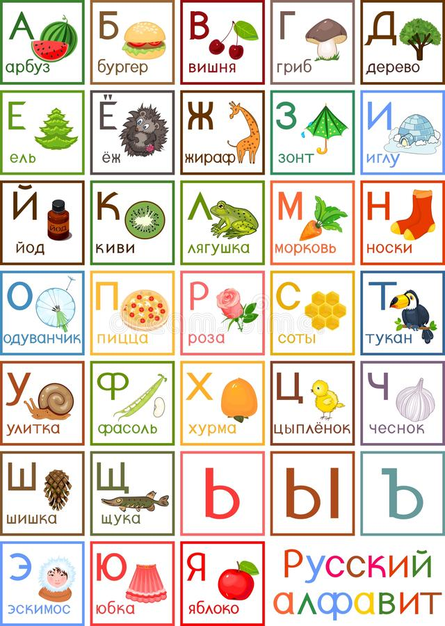 Colorful Russian alphabet with pictures and titles for children education vector illustration