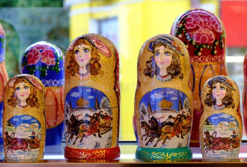 Colorful Russian dolls Matreshka. Wooden doll Matryoshka view stock photos