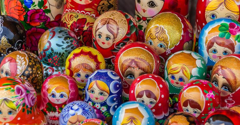 Colorful russian wooden dolls. At a market in Trakai, Lithuania royalty free stock image