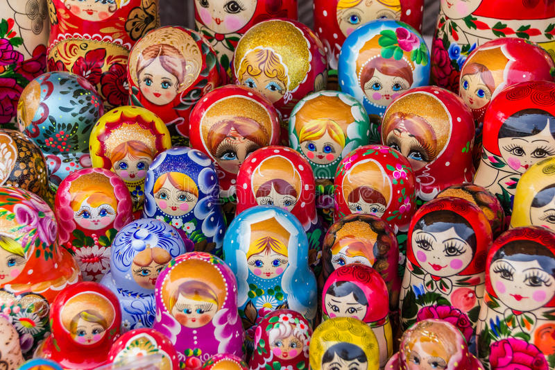 Colorful russian wooden dolls. At a market in Trakai, Lithuania royalty free stock photo