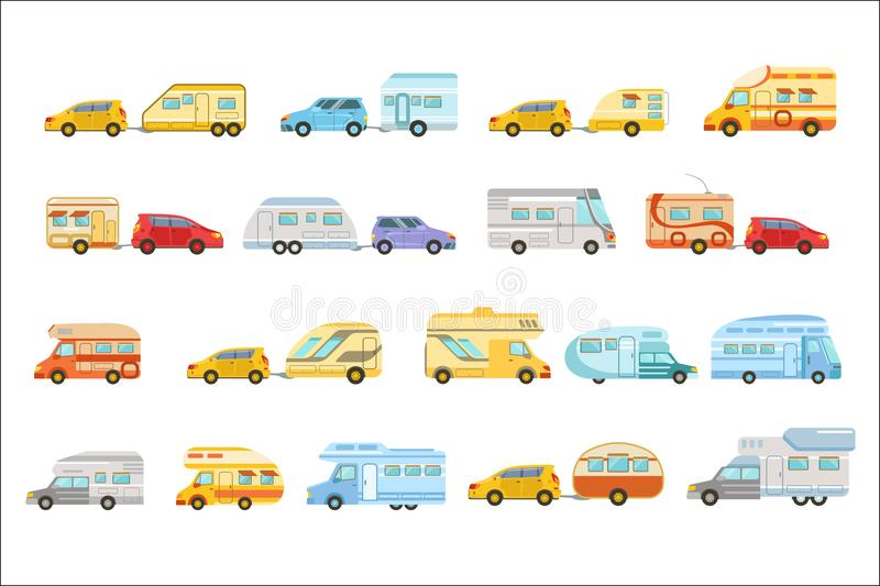 Colorful Rv Minivan With Trailer Set Of Icons. Family Motorhome Flat Colorful Car Set. Microbus For Family Vacation Set Of Isolated Illustrations royalty free illustration