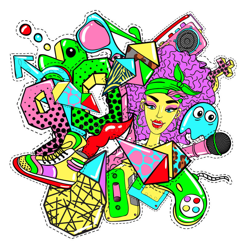 Colorful 90s Fashion Patches Doodle Template royalty free illustration