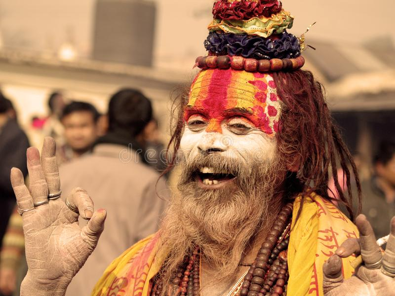 Colorful Sadhu in Shivaratri Festival. A colorful sadhu posing for photograph. Mahashivaratri is one of the biggest festivals of Hindus. People from all over the royalty free stock photography