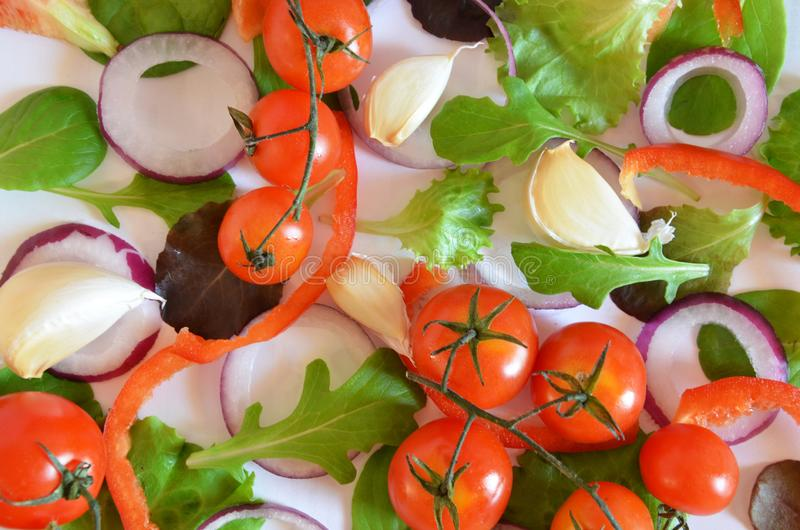Colorful salad ingredients pattern made of tomatoes, Ruccola, purple onion rings, red sweet pepper, chili, garlic, cucumber slices stock image