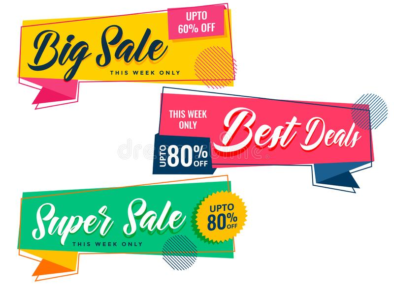Colorful sale banners set in memphis style. Vector royalty free illustration