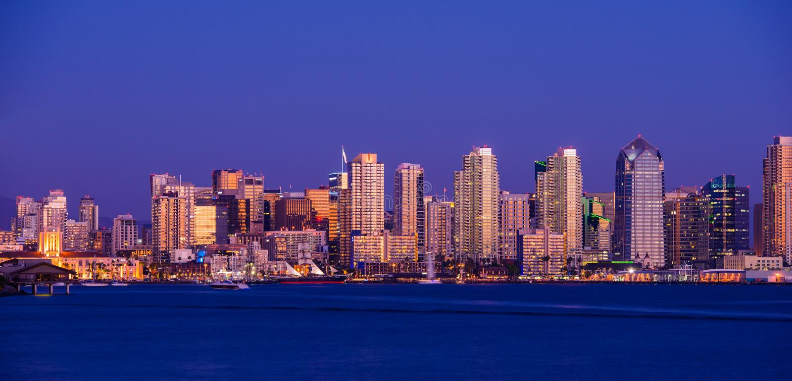 Colorful San Diego Downton. San Diego Skyline Panorama Photo After Dark royalty free stock images