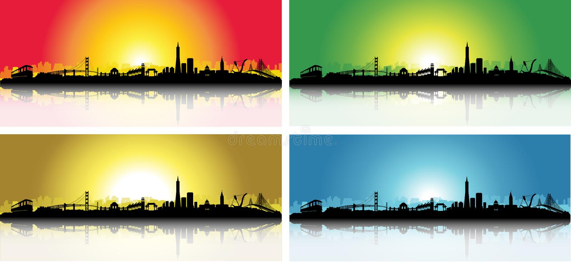 Colorful San Francisco Skyline Set stock illustration