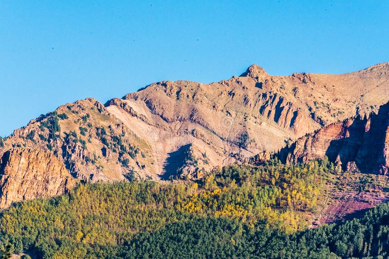 Colorful San Juan Mountains close up in Late Summer royalty free stock images