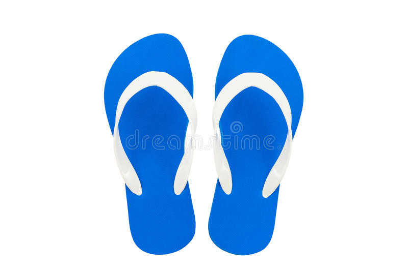 Colorful of Sandals shoes, Blue flip flops. Colorful of Sandals shoes, Blue flip flops on white background royalty free stock photos