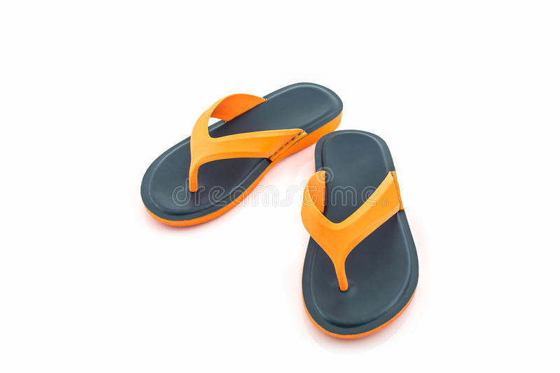 Colorful of Sandals shoes. Flip flops. Colorful of Sandals shoes. Orange and black Colors flip flops on white background royalty free stock image