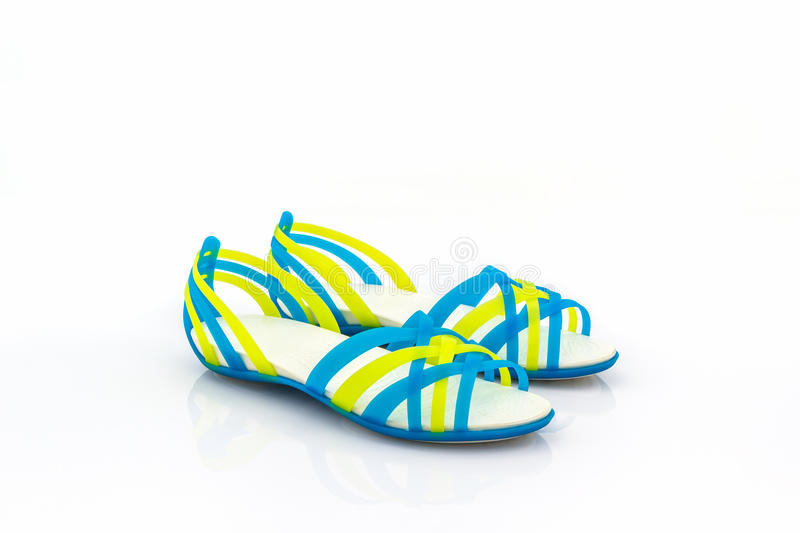 Colorful of Sandals shoes / flip flops. Colorful of Sandals shoes / flip flops on white background stock photography