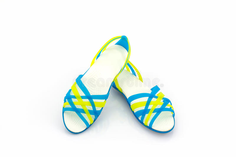 Colorful of Sandals shoes / flip flops. Colorful of Sandals shoes / flip flops on white background royalty free stock photos