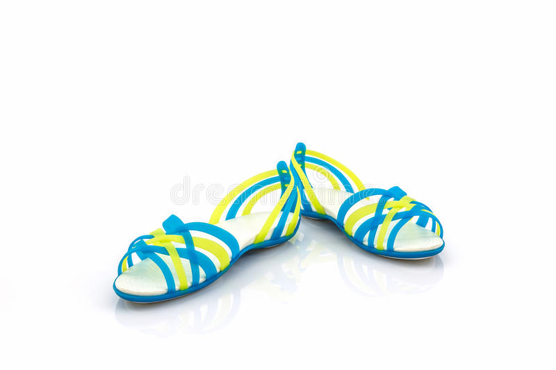 Colorful of Sandals shoes / flip flops. Colorful of Sandals shoes / flip flops on white background stock photo