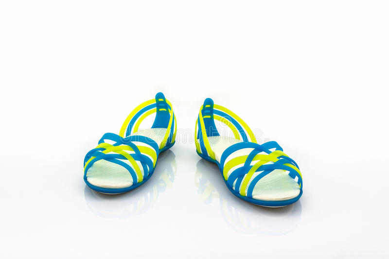Colorful of Sandals shoes / flip flops. Colorful of Sandals shoes / flip flops on white background royalty free stock image