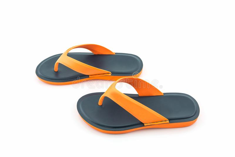 Colorful of Sandals shoes. Orange and black Colors flip flops. royalty free stock images