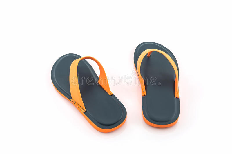 Colorful of Sandals shoes / Orange and black flip flops. stock photo